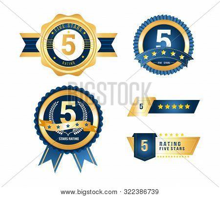Luxury Gold Badges Quality Labels Premium Set Of 5 Stars Rating