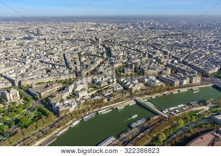 Paris, France, March 30, 2017: Aerial view of Paris from the Eiffel Tower. Panoramic view of the skyline over Paris. Roof landscape panorama