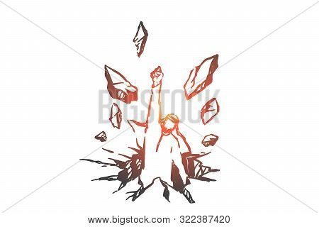 Freedom Struggle, Determination Concept Sketch. Overcoming Obstacles, Ambition, Aspiration Metaphor,