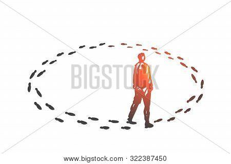 Vicious Circle, Monotony Concept Sketch. Ineffective Problem Solution, Monotonous Work, Business Rou