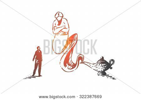 Wish Fulfillment, Fairytale Concept Sketch. Businessman Summoned Genie With Magical Lamp, Arabian My