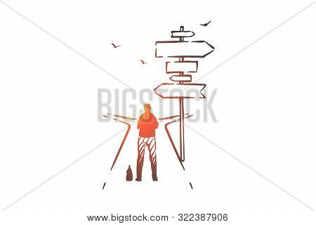 poster of Important choice, opportunity concept sketch. Decision making, dilemma metaphor, businessman choosing business direction, man standing on road fork with sign post. Hand drawn isolated vector