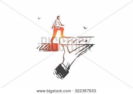 Business Support, Help Concept Sketch. Career Ladder, Job Promotion, Creating Opportunity, Success A