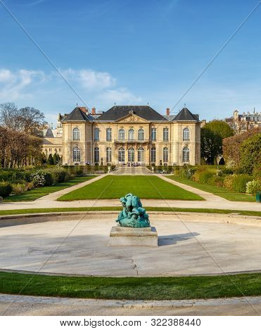 Paris, France, March 30, 2017: Exterior of the Rodin Museum, a famous and popular museum housing the work of Auguste Rodin