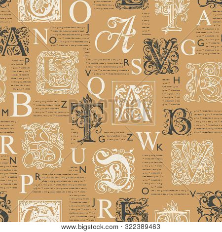 Vector Seamless Pattern With Hand Drawn Alphabet Letters On The Background Of Magazine Or Newspaper