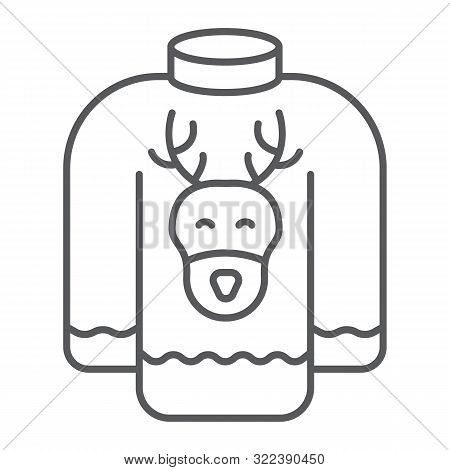 Christmas Sweater Thin Line Icon, Holiday And Clothes, Sweater With Deer Sign, Vector Graphics, A Li