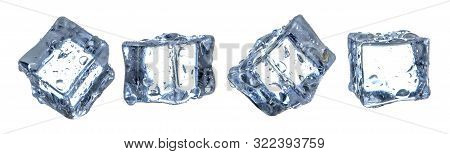 Isolated Ice Cube, Cold Freeze On White Background