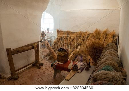 Veliky Novgorod, Russia - August 16, 2019. Exhibits Of An Ethnographic Exhibition In The Interior Of