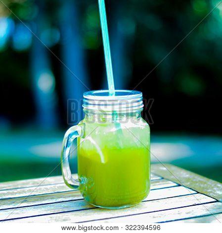 Traditional Herb Estragon Summer Beverage Tarhun On Wooden Table.