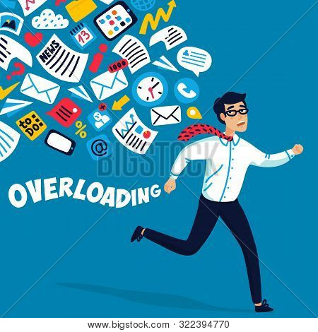 Input Overloading. Information Overload Concept. Young Man Running Away From Information Stream Purs