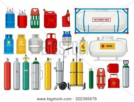 Propane Tanks. Gas Safety Ballons Dangerous Oxygen Or Propane Vector Illustrations. Oxygen And Propa