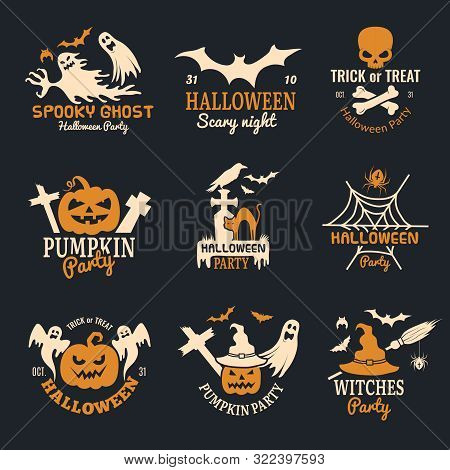 Halloween Badges. Party Scary Logo Horror Symbols Skull Bones Vector Halloween Collection. Horror Pa