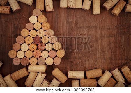 Chtistmas Or New Year Wine Design Template. A Christmas Tree Of Wine Corks, Shot From The Top On A D