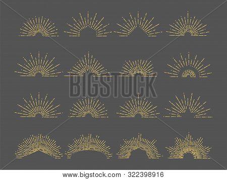 Vector Sunburst Emblem. Line Radial Rays Illustration. Vintage Gold Burst Set For Logo, Cards, Invit