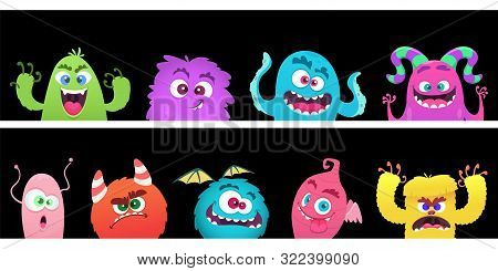 Cartoon Monsters. Halloween Monster Faces Vector Banners Template. Halloween Monster Spooky, Funny B