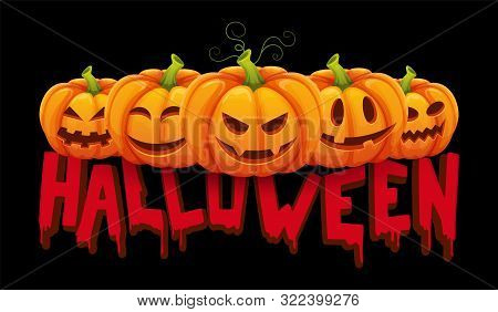 Halloween Banner. Vector Halloween Pumpkin With Funny Faces. Party Background. Illustration Face Pum