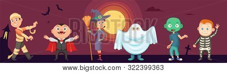 Halloween Kids. Children Wear Scary Party Costumes. Zombie, Vampire, Witch And Funny Ghost. Vector H