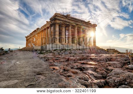 Athens - Parthenon On The Acropolis At Sunrise In Greece