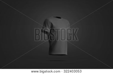Blank Black T-shirt Mock Up, Isolated On Dark Background, 3d Rendering. Empty Casual Short Mockup, S