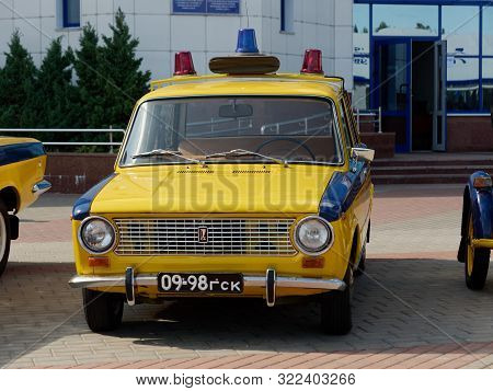 Gomel, Belarus - September 14, 2019: Old Yellow Car Traffic Police