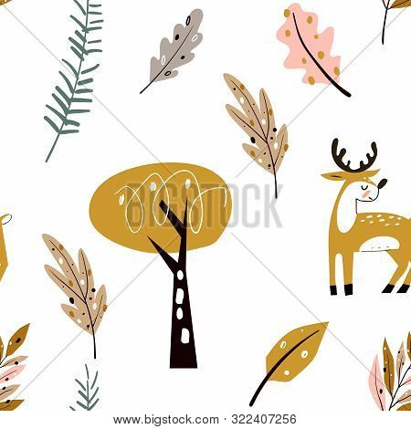 Seamless Childish Pattern With Cute Deer In The Wood. Forest Elements And Hand Drawn Shapes. Childis