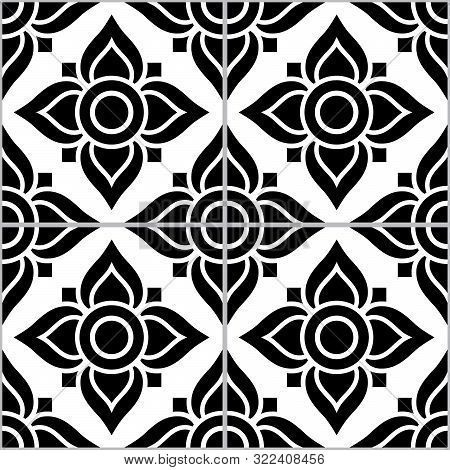 Azujelo Lisbon Tile Vector Pattern - Lisbon Tiles Seamless Design With Flowers , Tile Decor In Black