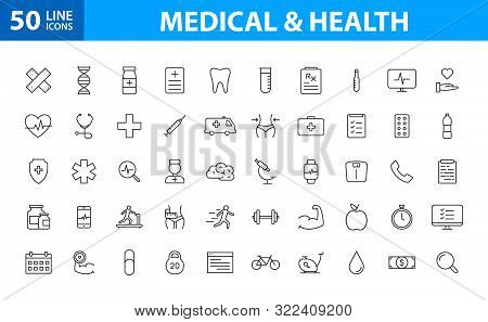 Set Of 50 Medical And Health Web Icons In Line Style. Medicine And Health Care, Rx, Infographic. Vec