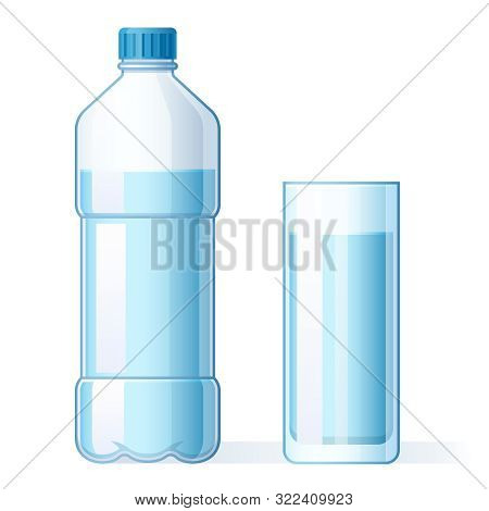 Glass Of Water And Plastic Bottle. Hydration, Bottles For Pure Liquid And Bottled Mineral Water Drin