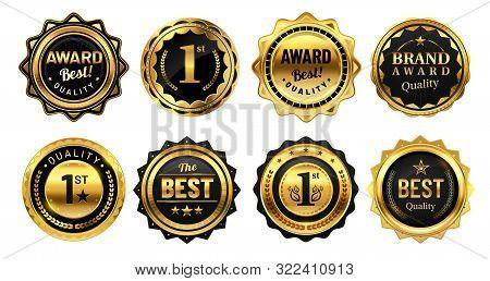 Golden Winner Badges. Retro Gold Quality Stamp, Exclusive Circle Badge And Heraldic Award. Sport Com