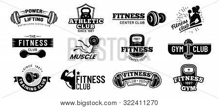 Gym Badges. Bodybuilding Stencil Label, Fitness Monochrome Silhouette Badge And Athlete Muscles. Bod