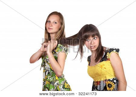 The Girl  Teenager Pulls Another For Hair