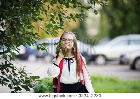 Little Schoolgirl Posing Outdoors. Smiling Child Girl. Selective Focus.