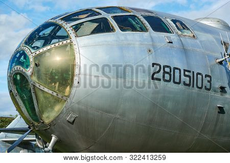 Fuselage And Cockpit Of Military Aircraft Bomber.