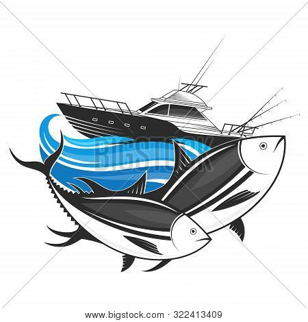 Boat With Fishing Rods And Two Tuna On The Waves