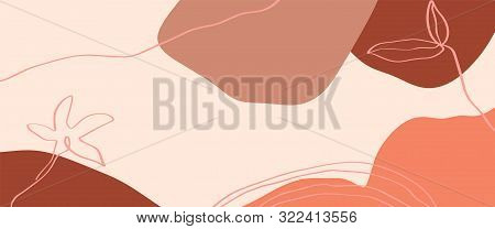 Terracotta Long Banner Template Floral Line Art Print Abstract Modern Digital Painting. Fashion Scan