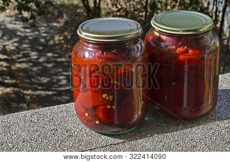 Roasted Red, Ripe Peppers, Paprika Or Capsicum Seedless, Preserved In A Jar, Sofia, Bulgaria