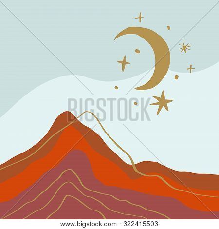 Terracotta Abstract Modern Minimalistic Landscape Digital Painting Fashion Scandinavian Style Color
