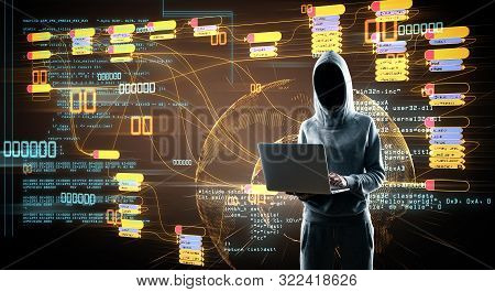 Internet Security Concept With No Face Hacker At Digital Map With Node Tree And World Map Background