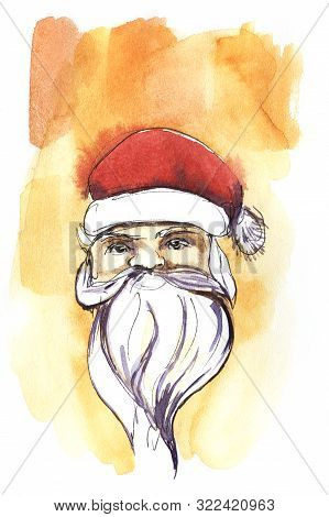 Santa Claus Head In A Red Hat. Face With A Beard. Santa Claus On An Orange Watercolor Background. Ha
