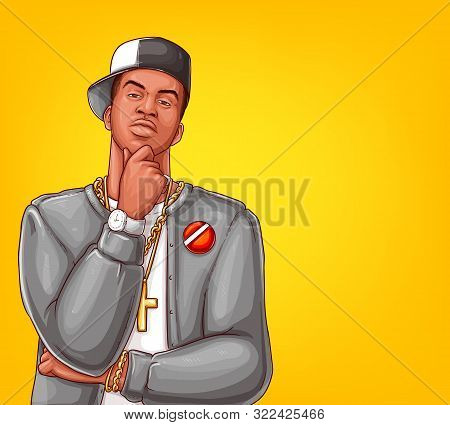 Pop Art Rap, Hip-hop Male Character Isolated On Yellow Background. Afro-american Singer In Grey Jack