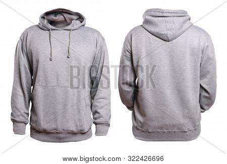 Blank Sweatshirt Mock Up, Front, And Back View, Isolated On White. Plain Gray Hoodie Mockup. Hoody D