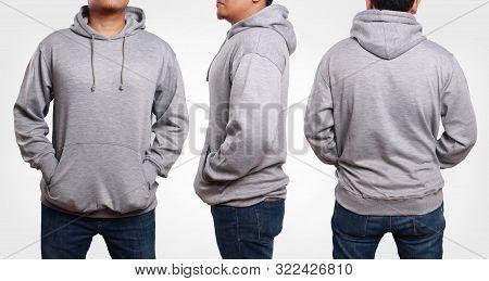 Blank Sweatshirt Mock Up, Front, Side And Back View. Plain Gray Hoodie Mockup. Male Model Wearing Ho