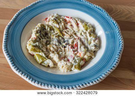 Turkish Food Roasted Green Pepper With Yogurt And Mayonnaise / Kavrulmus Biber Kozlemesi.
