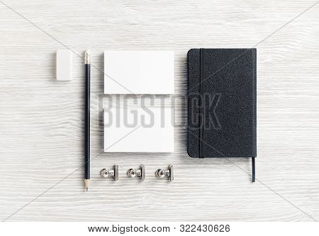 Corporate Identity Mockup. Notepad, Business Cards, Pencil And Eraser. Blank Stationery Set On Light