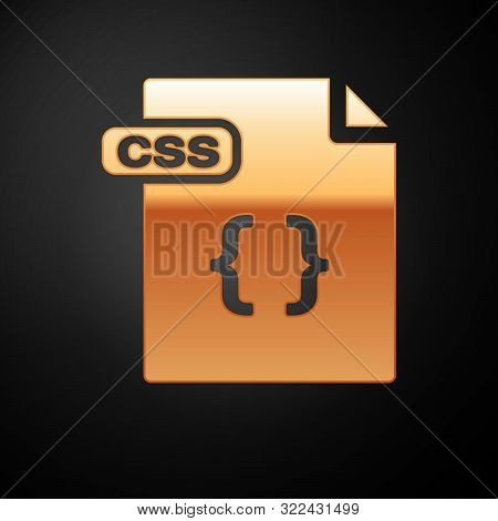 Gold Css File Document. Download Css Button Icon Isolated On Black Background. Css File Symbol. Vect