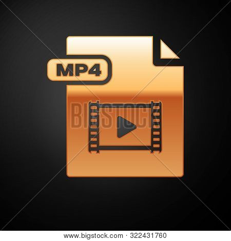 Gold Mp4 File Document. Download Mp4 Button Icon Isolated On Black Background. Mp4 File Symbol. Vect