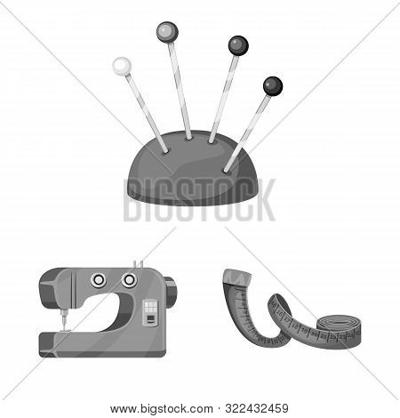 Isolated Object Of Dressmaking And Textile Icon. Collection Of Dressmaking And Handcraft Stock Vecto