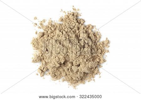 Chocolate Whey Protein Powder Isolated On White, Top View