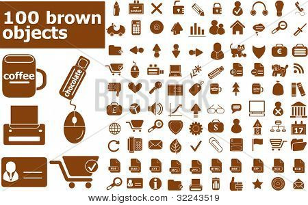 100 brown vector objects set  (easy edit)
