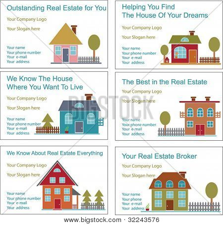 6 advertising business cards concept - vector set (easy edit)